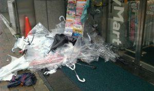 強風で壊れた傘の残骸