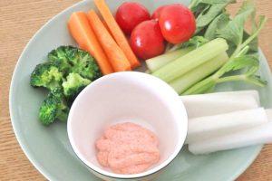 明太子マヨネーズで野菜