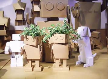 ダンボールロボットで植木鉢